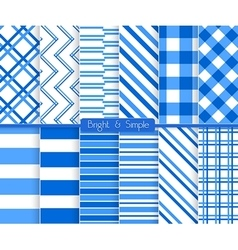 Bright and simple blue stripes pattern set vector