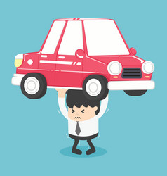 Businessman carry a heavy car vector