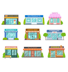 cartoon shops barber shop bookstore and pharmacy vector image