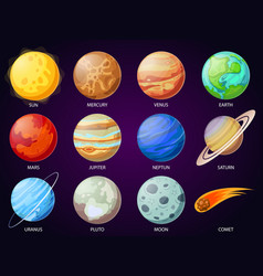 cartoon solar system planets astronomical vector image