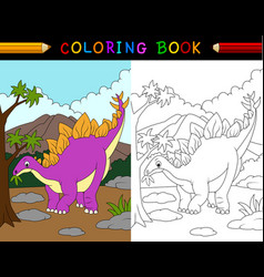 cartoon stegosaurus coloring book vector image