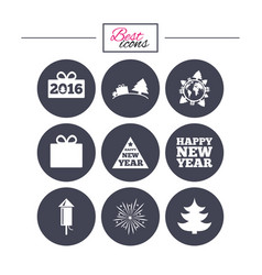 Christmas new year icons gift box fireworks vector