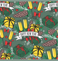 Christmas seamless pattern new year hand vector
