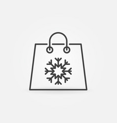 christmas shopping paper bag icon in thin vector image