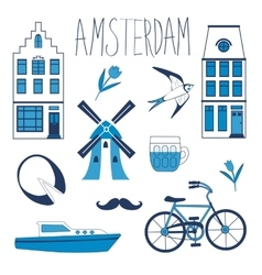 Colorful Amsterdam related icons set vector