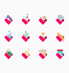 colorful glyph lover icon set vector image