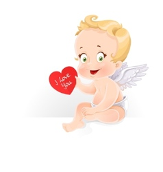 Cute Cupid sitting on horizontal banner and gives vector