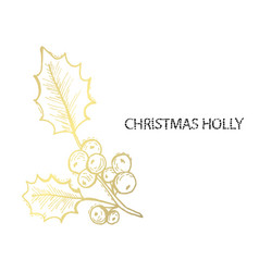 decorative golden holly berry vector image