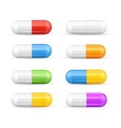 Different Colours Pills Capsules Set vector image