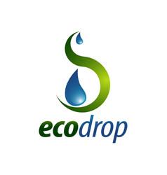eco drop abstract water drop logo concept design vector image