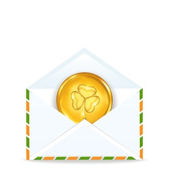 envelope with golden coin for St Patricks Day vector image