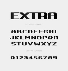 extra bold letters and numbers set vector image