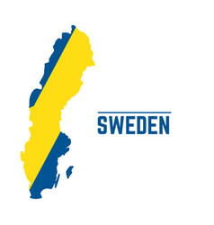 Flag and map of sweden vector