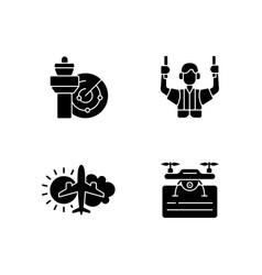 Flight dispatch black glyph icons set on white vector