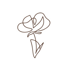 Flower one line art logo minimalist vector
