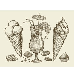 Food dessert drink Hand drawn vintage ice cream vector image
