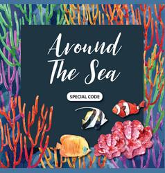 Frame design with sealife themed deep-sea fish vector