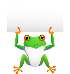 frog with blank sign vector image
