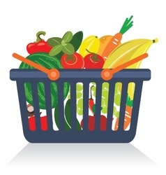Fruits and vegetables in a basket vector image