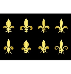 Golden fleur de lis set black background vector image vector image