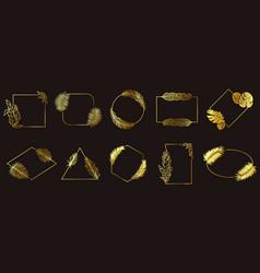 golden leafs frames gold floral frame tropical vector image