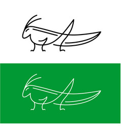 grasshoper line style elegant logo cute small vector image