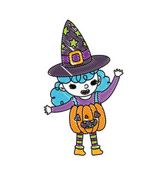Grated happy girl with pumpkin costume and witch vector