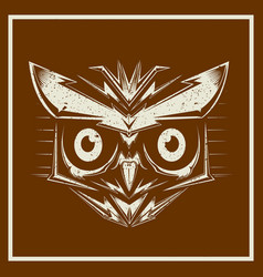 grunge style owl bird heads showing different vector image