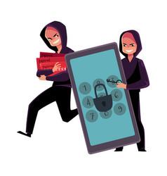 Hacker cracking smartphone breaking pin code vector