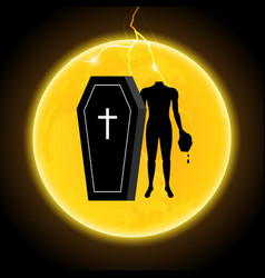 Halloween coffin moon thunderbolt headless zombie vector