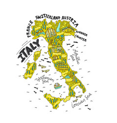 handdrawn map of italy vector image