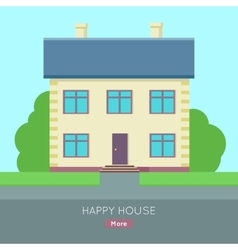 Happy House Web Banner in Flat Design vector image vector image