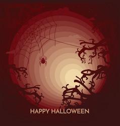 haunted happy halloween banner - spider on web vector image