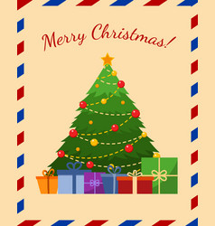 holiday greeting card with christmas tree flat vector image
