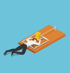 isometric businessman trapped into mousetrap vector image