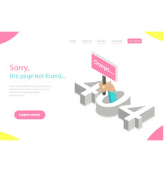 isometric flat landing page template 404 vector image