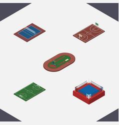 isometric sport set of fighting run stadium vector image