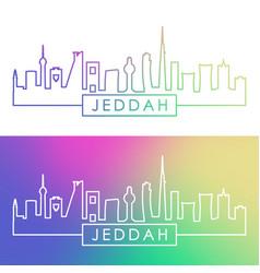 Jeddah city skyline colorful linear style vector