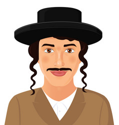 Jewish man face portrait with hat and mustache vector