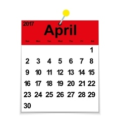 Leaf calendar 2017 with the month of April vector image