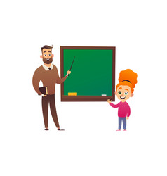 little girl study in school class with teacher vector image