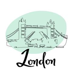 London town tower bridge sketch vector