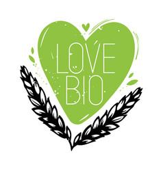 Love bio doodle heart symbol vector