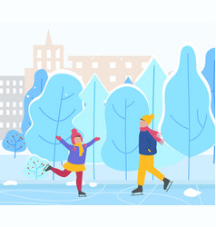 Man and woman skate in winter park in city vector