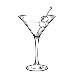 Martini with olive alcoholic cocktail in glass vector