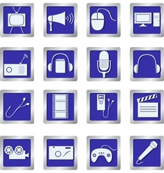 media icons on square buttons vector image