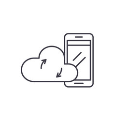 mobile cloud data line icon concept mobile cloud vector image