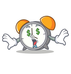 Money eye alarm clock mascot cartoon vector