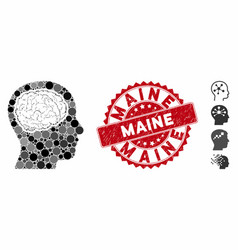 mosaic head brain icon with textured maine seal vector image