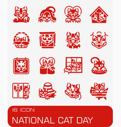 National cat day icon set vector